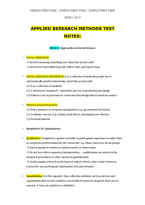Applied Research Methods - EXCELLENT Test Notes (GOT 98