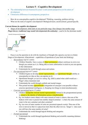 H1 (93) Course Summary - Developmental Psychology