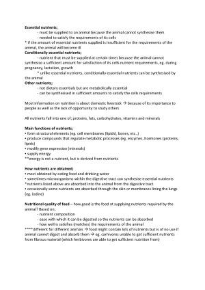 Animal Nutrition (AGR2AN). Subject notes for LaTrobe AGR2AN
