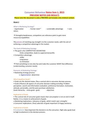 HD Result Consumer Behaviour: Notes, Sample Exam Question