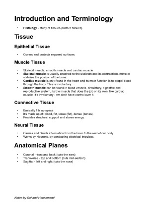 Introduction To Anatomy Lecture Notes Studentvip Notes