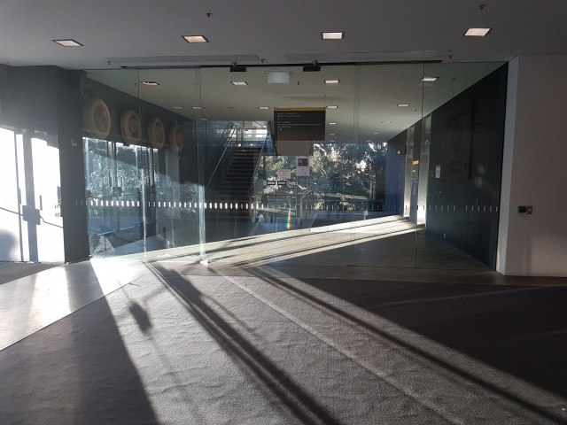 Access to the Law library. Go through the glass doors and walk down the steps for the disturbingly quiet study space.