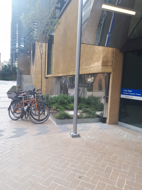 Bike racks! Peep the Arts West entry on the right.