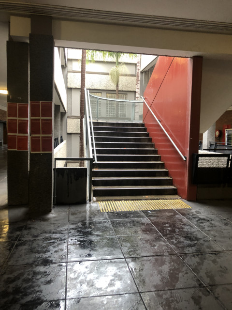 Stair entrance to levels 3, 4 and 5 located left of the Carslaw Learning Hub - East