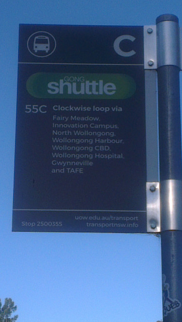 Gong Shuttle bus stop area 55C 55A GKC at UOW Main StudentVIP