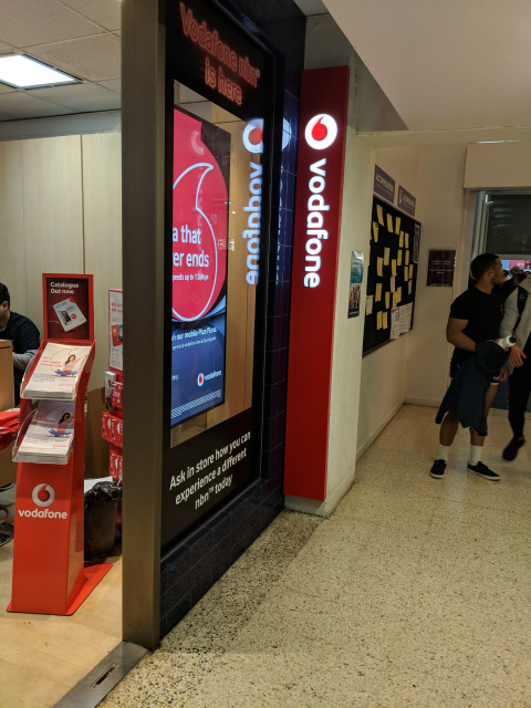 Vodafone on the left